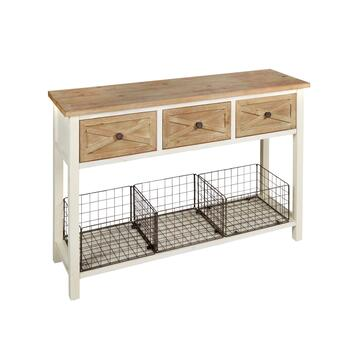 The Grainhouse™ 3-Drawer/3-Iron Basket Console Table