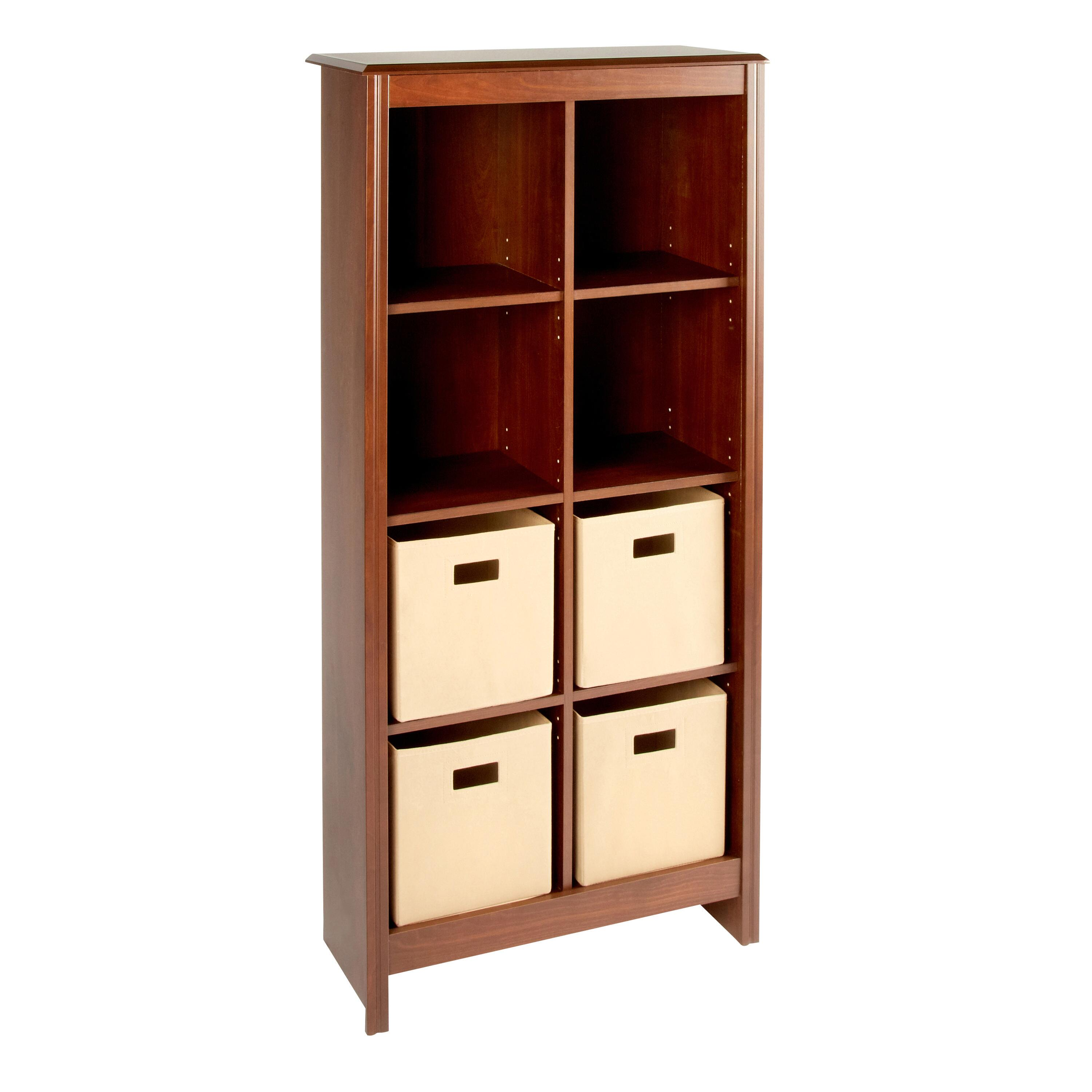 Cherry Wood 8 Cubby Bookcase Cabinet With Storage Bins