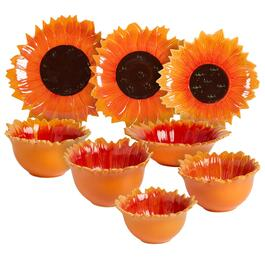 Orange/Brown Sunflower Ceramic Dinnerware Collection