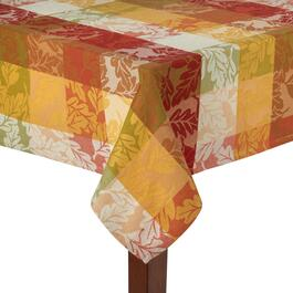 Orange/Red Leaves Jacquard Cotton Tablecloth