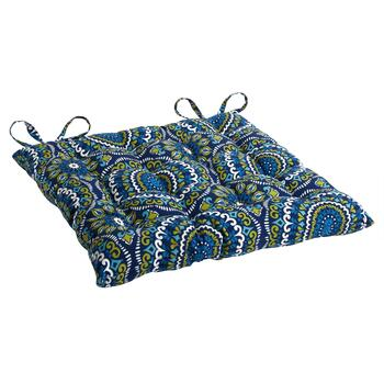 Blue/Green Medallions Indoor/Outdoor Tufted Square Seat Pad