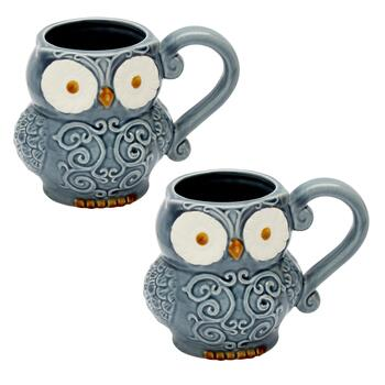 Blue Owl Figural Mugs, Set of 2