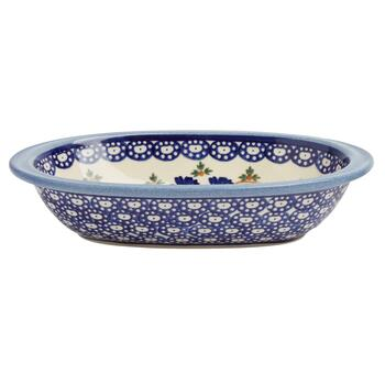 Polish Pottery Blue Floral Chain Oval Vegetable Bowl