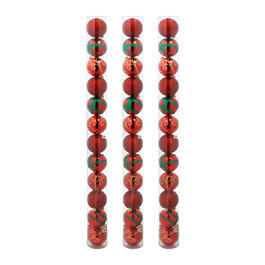 60mm Red/Green Stripe Shatterproof Ornaments, Set of 36 view 1