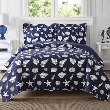 Navy Seashells Mini Bedding Set