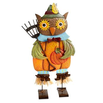 "24"" Owl Scarecrow with Rake Standing Metal Decor"