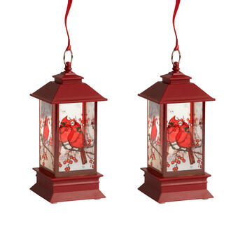 "7"" Red Glitter Cardinals LED Lanterns, Set of 2 view 1"