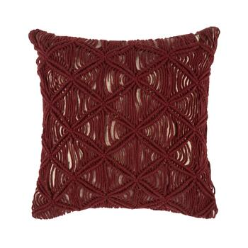 "The Grainhouse™ 18"" Red Macramé Square Throw Pillow"