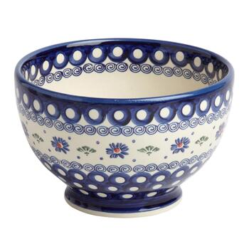 Floral Dot Polish Pottery Large Footed Bowl