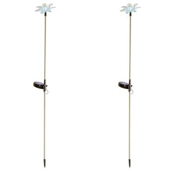 "30"" Flower Color Changing Solar Light Stakes, Set of 2"