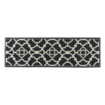 "Waverly® 4'4""x6'11"" Black/White Geometric Indoor/Outdoor Area Rug view 2 view 3"
