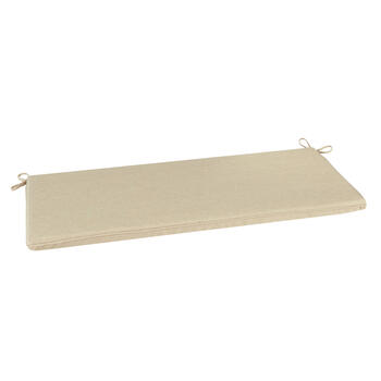 Solid Beige Woven Indoor/Outdoor Bench Seat Pad view 1