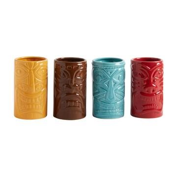 Tiki Face Cooler Glasses, Set of 4