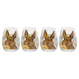 Yellow Floral Bunny Stemless Wine Glasses, Set of 4 view 1