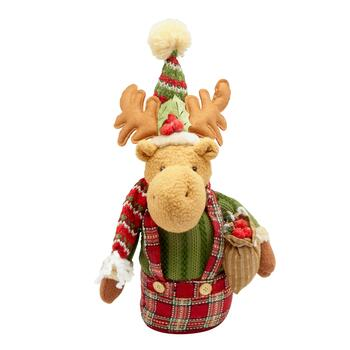 "16"" Plush Heavy Bottom Reindeer Decor"