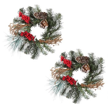 "11"" Snowy Pinecones Green Centerpiece, Set of 2 view 2"
