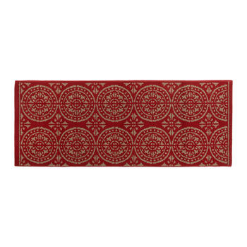 Red/Gray Medallion Accent Rug view 2