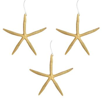 Gold Starfish Ornaments, Set of 3