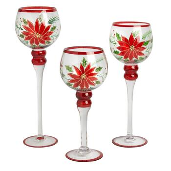 Poinsettia Glass Hurricane Votive Candle Holders, Set of 3