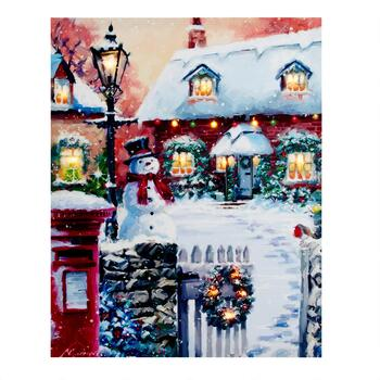 "16""x20"" Christmas House LED Canvas Wall Art"