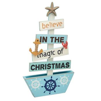 "19.5"" ""Believe"" Plank Wood Boat Christmas Decor"