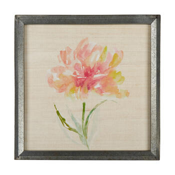 "16"" Painted Flower Metal Framed Square Wall Art view 1"