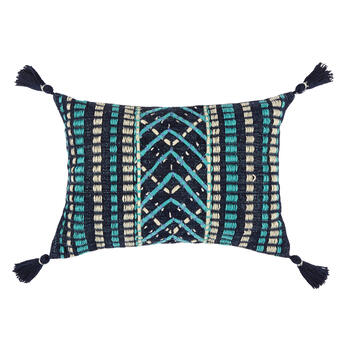 Navy/Aqua Woven Indoor/Outdoor Throw Pillow with Tassels view 1