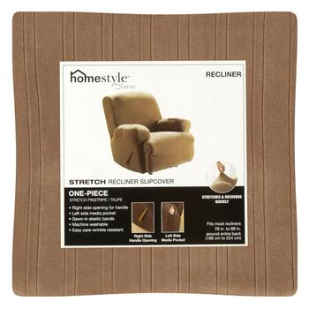 Surefit® Taupe Stretch Pinstripe Recliner Slipcover view 2