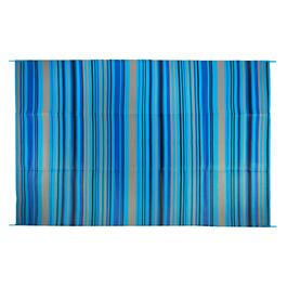 Turquoise Stripe Reversible All-Weather Patio Mat