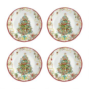 Christmas Tree Melamine Dinner Plates, Set of 4