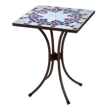 "21.5"" Blue Star Square Mosaic Table"
