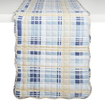 Nautical Postcard/Plaid Reversible Quilted Table Runner view 2