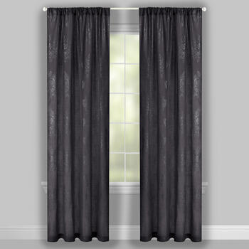"84"" Damask Metallic Rod Pocket Window Curtains, Set of 2 view 2"
