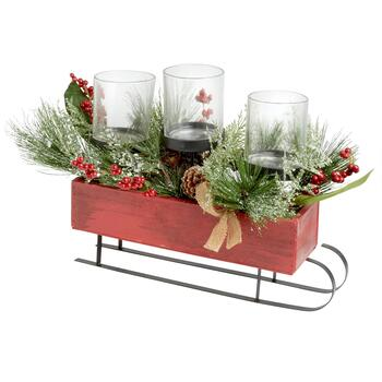 "15.5"" Holiday Berries Sleigh 3-Cup Candle Holder Centerpiece"