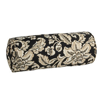 Black/Beige Floral Scroll Indoor/Outdoor Lumbar Pillow view 1