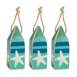 Blue Stripe Starfish Wood Buoy Ornaments, Set of 3