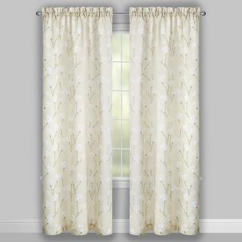 Perfect Window Tan/White Magnolia Window Curtains, Set of 2 view 2