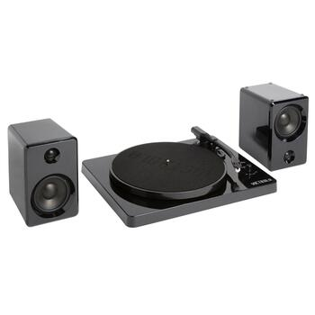 Black Victrola Modern Turntable and Speaker Set