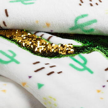 Cactus Sequin Applique Plush Throw view 2