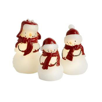 Snowman Family Flameless LED Pillar Candle Set with Remote, 4-Piece