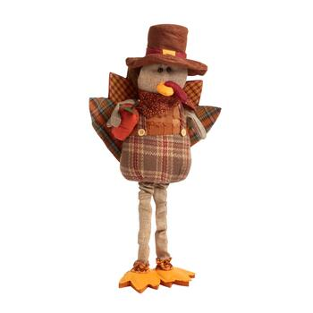 "21"" Plaid Standing Fabric Turkey Boy with Apple"
