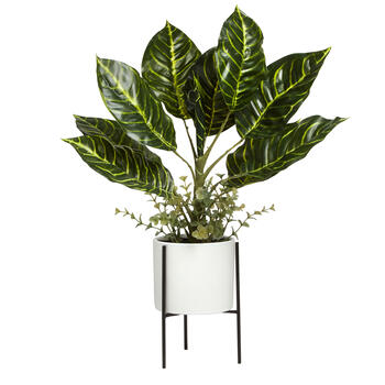 "21"" Round Leaf Potted Plant with Stand view 1"