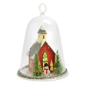 "7"" Lighted Red Barn in Glass Cloche"