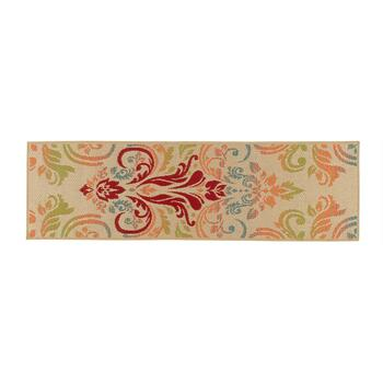 Large Damask Pattern All-Weather Area Rug view 2 view 3 view 4