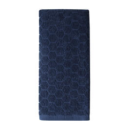 Navy Honeycomb Kitchen Towel view 1