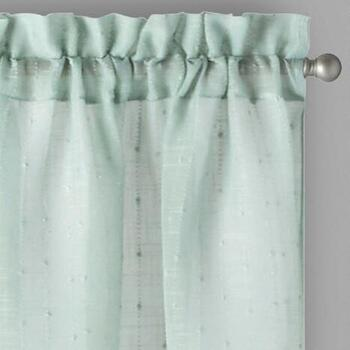 Solid Textured Stripe Rod Pocket Window Curtains, Set of 2