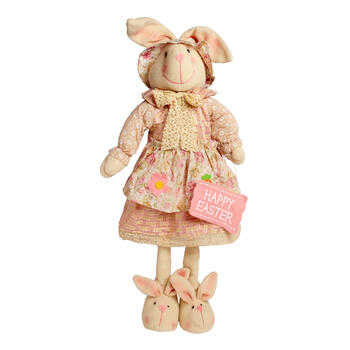 "29"" Pink Flower Apron Standing Girl Bunny view 1"