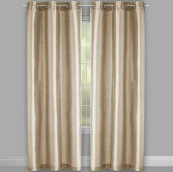 "84"" Fancy Faux Silk Lined Grommet Window Curtains, Set of 2 view 2"
