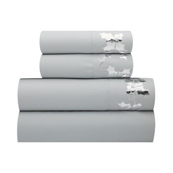 Gray Metallic Holly Berry Sheet Set view 1