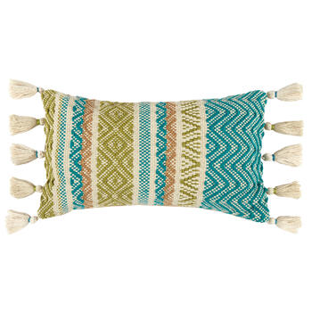 Teal Green Beige Woven Indoor Outdoor Throw Pillow With Tassels